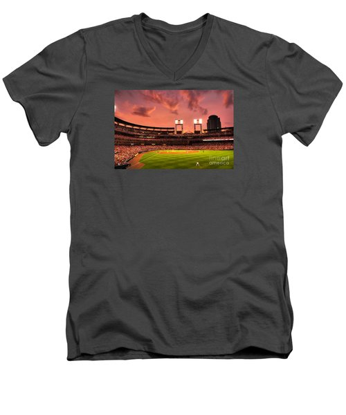 Men's V-Neck T-Shirt featuring the digital art Piscotty In Left Field by William Fields