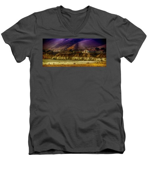 Pismo Beach Cove Men's V-Neck T-Shirt by Joseph Hollingsworth