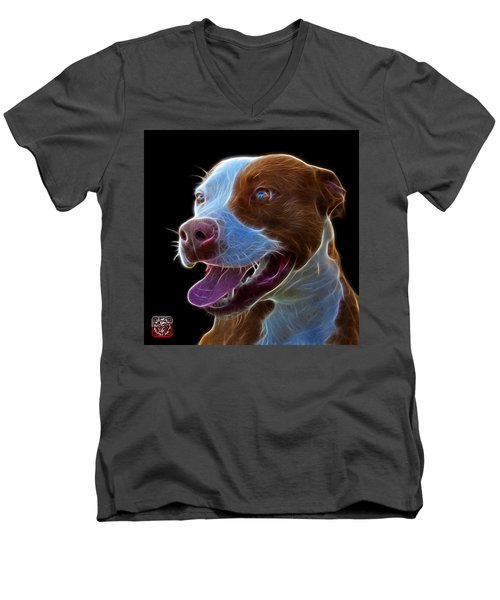 Pit Bull Fractal Pop Art - 7773 - F - Bb Men's V-Neck T-Shirt