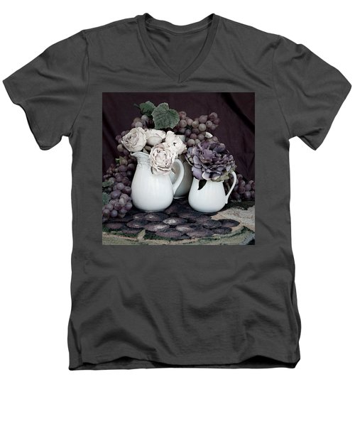 Men's V-Neck T-Shirt featuring the photograph Pitchers And Tapestry by Sherry Hallemeier