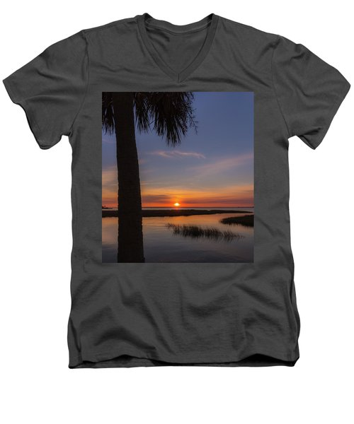 Men's V-Neck T-Shirt featuring the photograph Pitt Street Bridge Palmetto Sunset by Donnie Whitaker