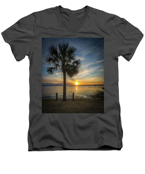 Men's V-Neck T-Shirt featuring the photograph Pitt Street Bridge Palmetto Tree Sunset by Donnie Whitaker