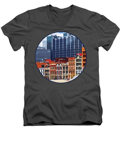Pittsburgh Pa Skyline Closeup Men's V-Neck T-Shirt