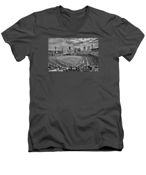 Pittsburgh Pirates Pnc Park Bw X1 Men's V-Neck T-Shirt by David Haskett