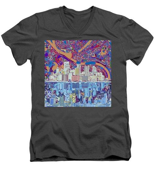 Pittsburgh Skyline Abstract 6 Men's V-Neck T-Shirt