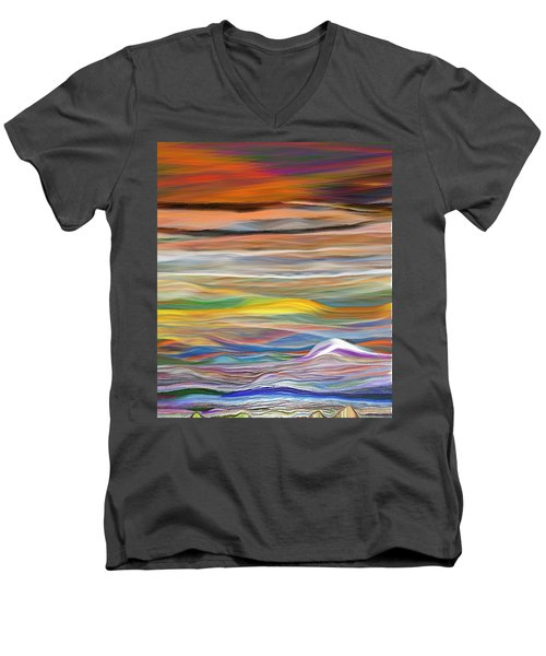 Men's V-Neck T-Shirt featuring the digital art Pittura Digital Ghibli1128 by Sheila Mcdonald