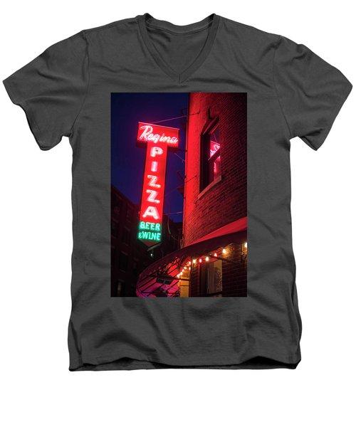 Pizzeria Regina Boston Ma North End Thacher Street Neon Sign Men's V-Neck T-Shirt