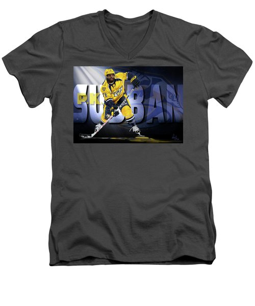 Men's V-Neck T-Shirt featuring the photograph Pk Subban by Don Olea