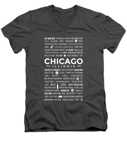 Places Of Chicago On Blue Chalkboard Men's V-Neck T-Shirt by Christopher Arndt