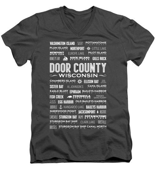 Men's V-Neck T-Shirt featuring the digital art Places Of Door County On Red by Christopher Arndt