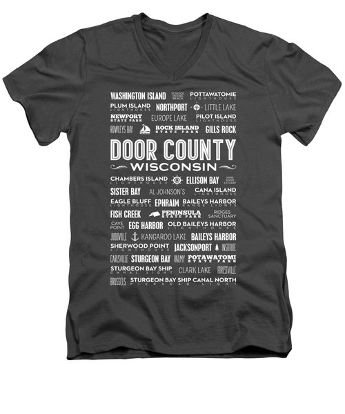 Places Of Door County On Red Men's V-Neck T-Shirt