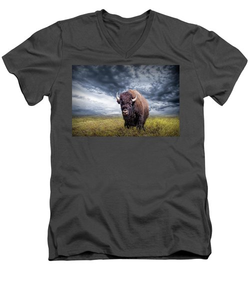 Plains Buffalo On The Prairie Men's V-Neck T-Shirt