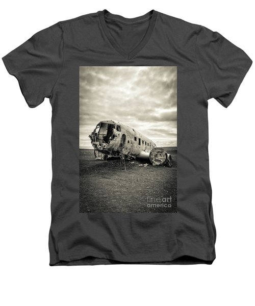 Men's V-Neck T-Shirt featuring the photograph Plane Crash Iceland by Edward Fielding