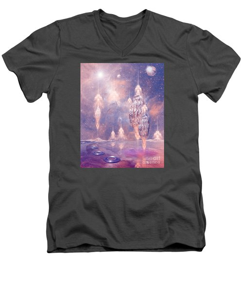 Men's V-Neck T-Shirt featuring the digital art Shell City by Alexa Szlavics
