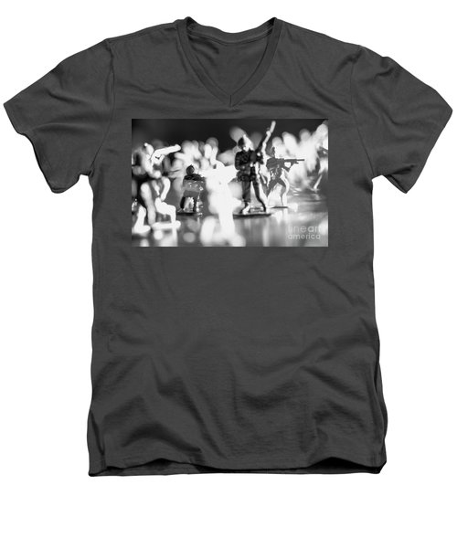 Men's V-Neck T-Shirt featuring the photograph Plastic Army Men 2 by Micah May