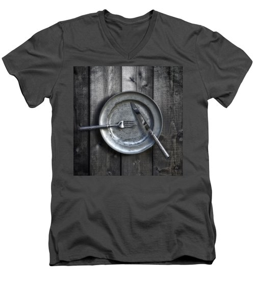 Plate With Silverware Men's V-Neck T-Shirt
