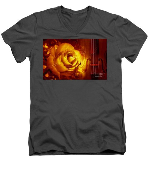 Play A Love Song Men's V-Neck T-Shirt by Annie Zeno