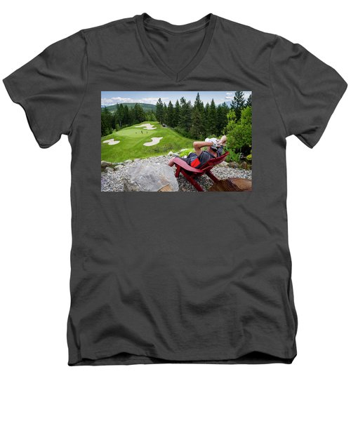 Men's V-Neck T-Shirt featuring the photograph Play Through Or Enjoy The View by Darcy Michaelchuk