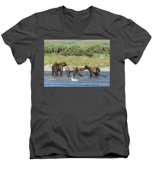 Playful Cubs Men's V-Neck T-Shirt