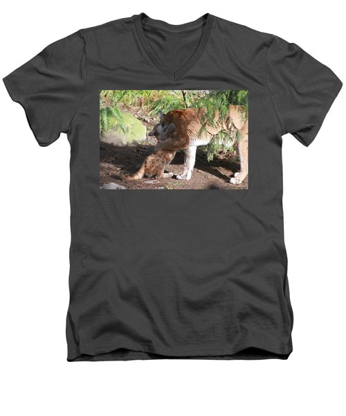 Men's V-Neck T-Shirt featuring the photograph Playful Hugs by Laddie Halupa