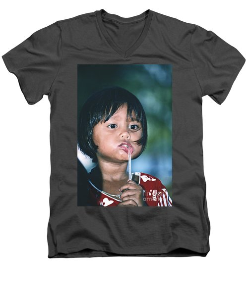 Men's V-Neck T-Shirt featuring the photograph Playful Little Girl In Thailand by Heiko Koehrer-Wagner