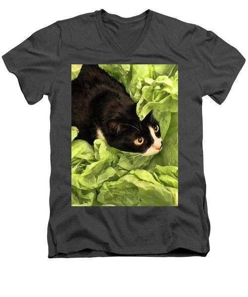 Playful Tuxedo Kitty In Green Tissue Paper Men's V-Neck T-Shirt