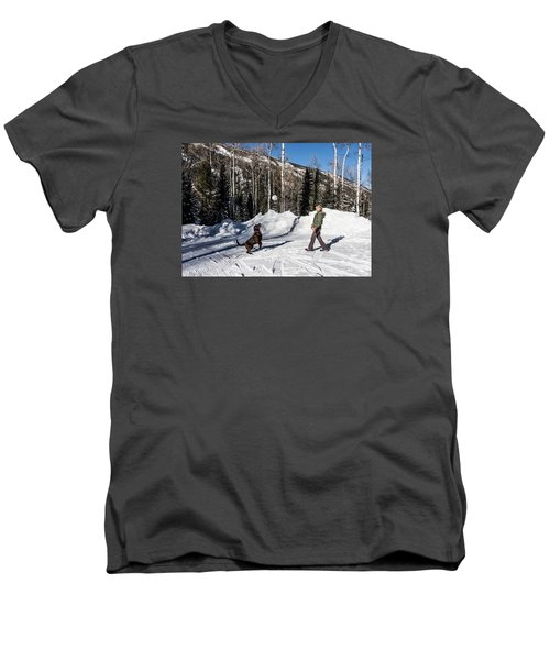 Playing Ball With A Beautiful Chocolate Lab Men's V-Neck T-Shirt by Carol M Highsmith