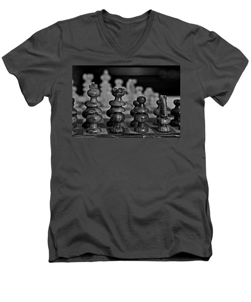 Men's V-Neck T-Shirt featuring the photograph Playing Chess 2 by Cendrine Marrouat
