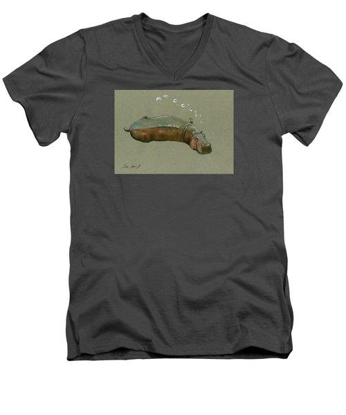 Playing Hippo Men's V-Neck T-Shirt by Juan  Bosco