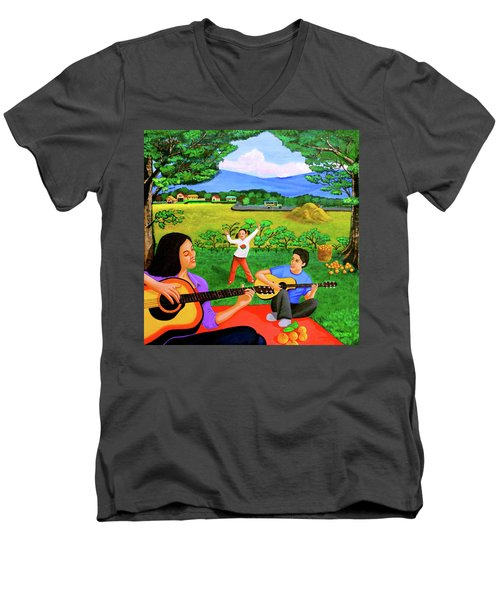 Men's V-Neck T-Shirt featuring the painting Playing Melodies Under The Shade Of Trees by Lorna Maza