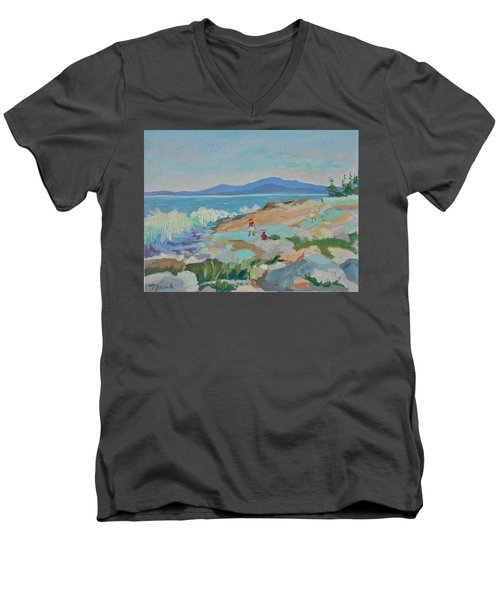 Men's V-Neck T-Shirt featuring the painting Playing On Schoodic Rocks by Francine Frank