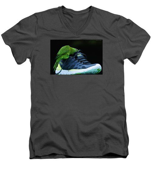 Men's V-Neck T-Shirt featuring the photograph Playing With Dads Shoe 01 by Kevin Chippindall