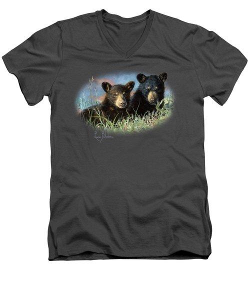 Playmates Men's V-Neck T-Shirt by Lucie Bilodeau