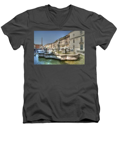 Plaza Navona Rome Men's V-Neck T-Shirt