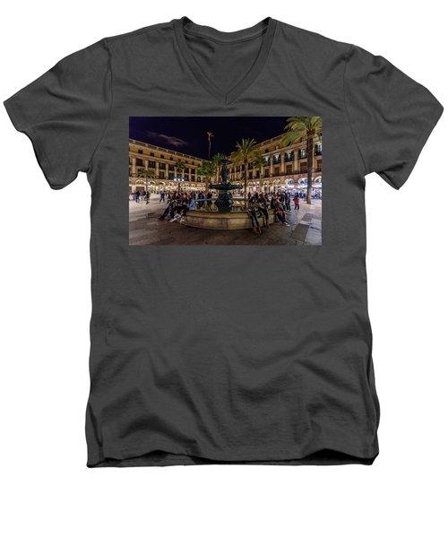 Plaza Reial Men's V-Neck T-Shirt by Randy Scherkenbach