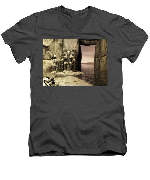 Men's V-Neck T-Shirt featuring the digital art Plea Of The Penitent To The Lord Of Perdition by John Alexander
