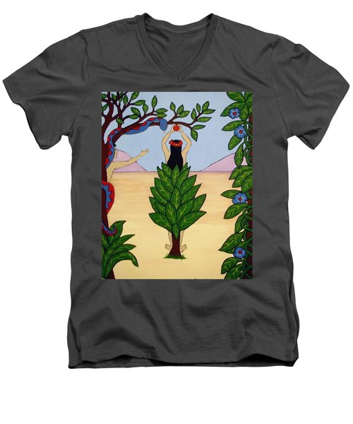 Men's V-Neck T-Shirt featuring the painting Please Don't Pick That Apple by Stephanie Moore