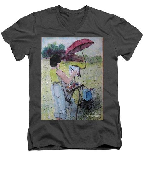 Men's V-Neck T-Shirt featuring the painting Plein-air Artist Sandra by Gretchen Allen