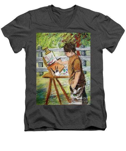 Men's V-Neck T-Shirt featuring the painting Plein-air Painter Boy by Gretchen Allen