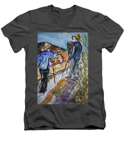 Plein Air Painters - Original Watercolor Men's V-Neck T-Shirt