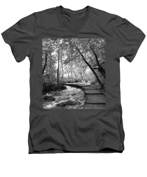Plitvice In Black And White Men's V-Neck T-Shirt