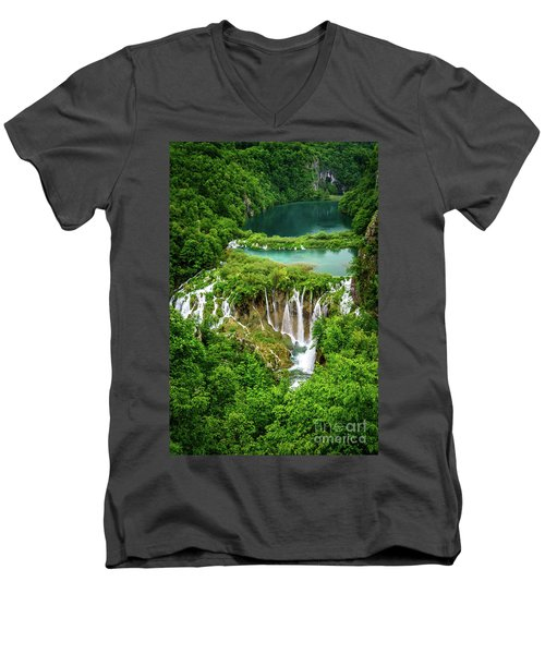 Plitvice Lakes National Park - A Heavenly Crystal Clear Waterfall Vista, Croatia Men's V-Neck T-Shirt