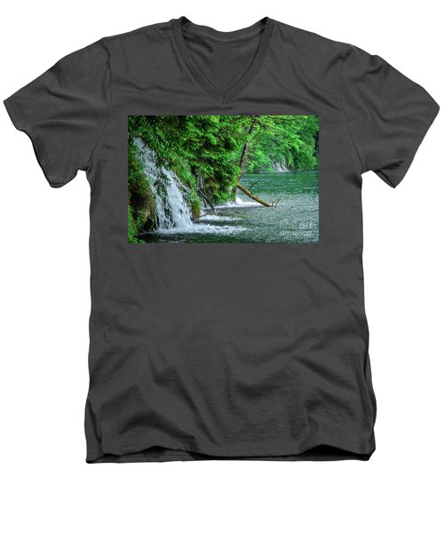 Plitvice Lakes National Park, Croatia - The Intersection Of Upper And Lower Lakes Men's V-Neck T-Shirt