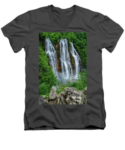 Plitvice Lakes Waterfall - A Balkan Wonder In Croatia Men's V-Neck T-Shirt