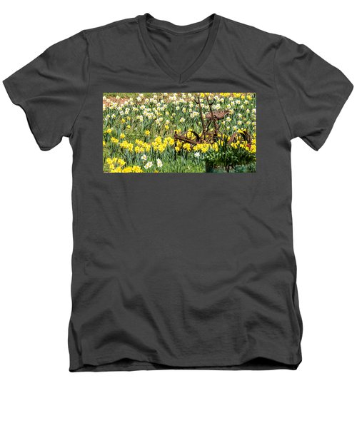Plow In Field Of Daffodils Men's V-Neck T-Shirt