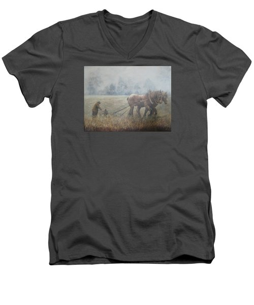 Plowing It The Old Way Men's V-Neck T-Shirt by Donna Tucker