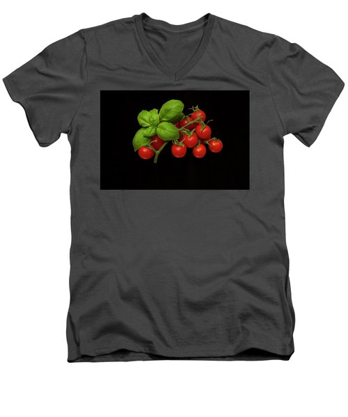 Men's V-Neck T-Shirt featuring the photograph Plum Cherry Tomatoes Basil by David French