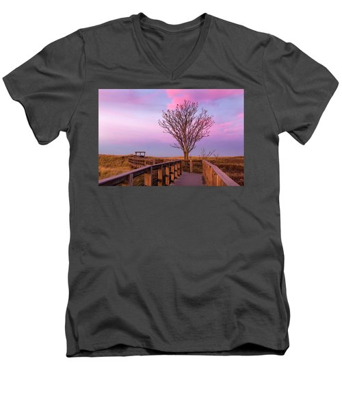 Plum Island Boardwalk With Tree Men's V-Neck T-Shirt by Betty Denise