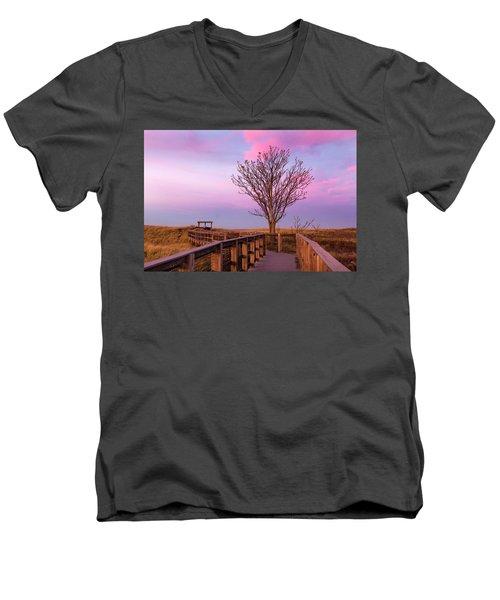 Plum Island Boardwalk With Tree Men's V-Neck T-Shirt