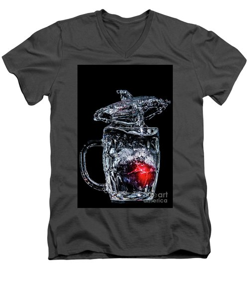 Men's V-Neck T-Shirt featuring the photograph Plum Splash by Ray Shiu